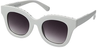 Steve Madden Dawn (White Frame/Smoke Gradient Lens) Fashion Sunglasses