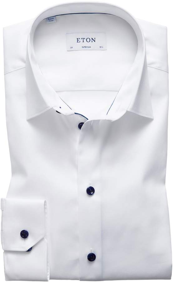 Eton Super Slim Fit Twill Dress Shirt with Navy Details