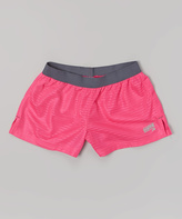 Soffe Pink Glo Lace Mesh Shorts - Girls