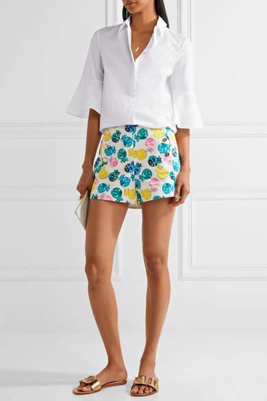 Draper James Printed Cotton-blend Shorts - White