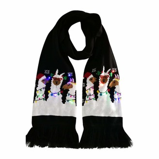 Jiegorge Colorful Merry Christmas LED Light-up Knit Scarf Warm Wrap Head Scarve Scarf