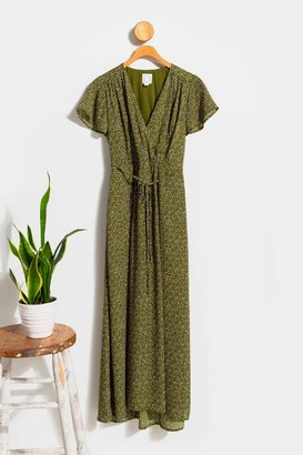 francesca's Kamryn Dotted Wrap Maxi Dress - Olive