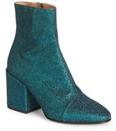 Dries Van Noten Ikat-Print Glitter Block Heel Booties