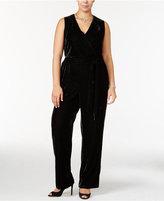NY Collection Plus Size Velvet Surplice Jumpsuit