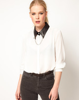 Sister Jane Faux Leather Collar Blouse with Studs and Chain