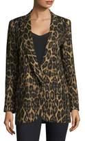 Smythe Leopard Print Notch Lapel Blazer