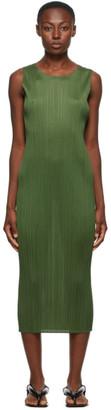 Pleats Please Issey Miyake Khaki New Colorful Basics 2 Tank Dress