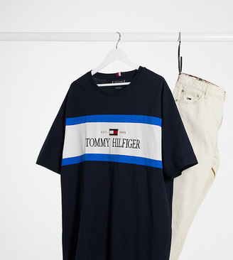 Tommy Hilfiger Big & Tall cut and sew chest logo T-shirt in navy