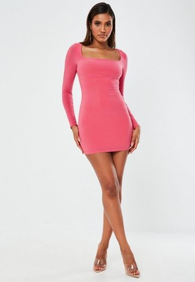 Missguided Pink Slinky Square Neck Mini Dress