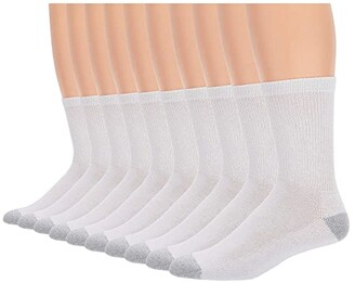 Hanes Platinum 10-Pack Crew Socks (White) Men's Crew Cut Socks Shoes