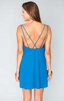 MUMU Criss Cross Applesauce Mini Dress ~ Blue Lagoon Crisp