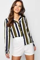 boohoo Petite Kimmy Stripe Pyjama Style Co-Ord Shirt