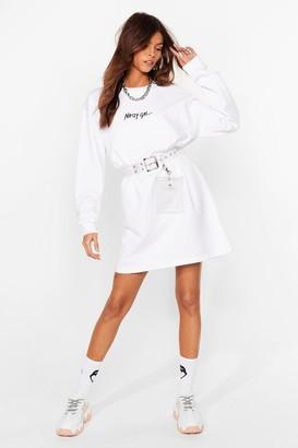 Nasty Gal Womens Word on the Street Mini Sweatshirt Dress - White