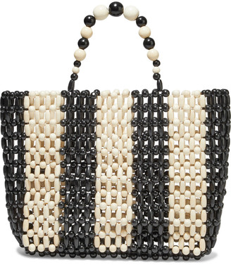 Alice + Olivia Zoey Two-tone Beaded Wood Tote