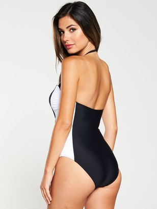 Very Mono Panel Belted Bandeau Swimsuit - Black White
