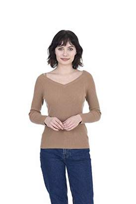 Cashmeren Scoop V-Neck Sweater 100% Cashmere Long Sleeve Pullover for Women (