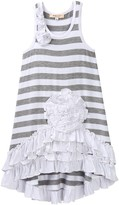 Baby Sara Flower & Ruffle Striped Hi-Lo Dress (Toddler & Big Girls)