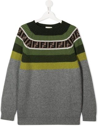 Fendi Kids TEEN FF-trimmed jumper