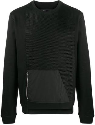 Les Hommes Mesh Panel Asymmetric Sweatshirt