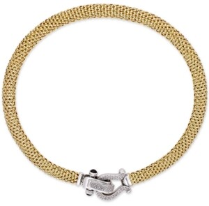 """Macy's Diamond Horseshoe Link Mesh 17"""" Collar Necklace (5/8 ct. t.w.) in Sterling Silver or 14k Gold-Plated Sterling Silver"""