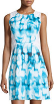T Tahari Tie-Dye Sheath Dress, Blue/White