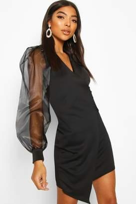 boohoo Tall Organza Mesh Sleeve Blazer Dress