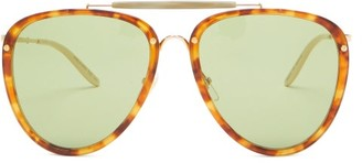 Gucci Aviator Acetate And Metal Sunglasses - Green