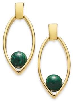Alfani Gold-Tone & Green Malachite Stone Open Drop Earrings, Created for Macy's