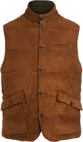Thumbnail for your product : Ralph Lauren Reversible Suede Oxford Gilet