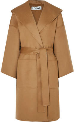 Loewe Hooded Belted Wool And Cashmere-blend Coat - Camel