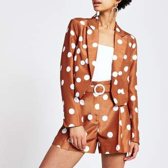 River Island Womens Brown spot cropped blazer