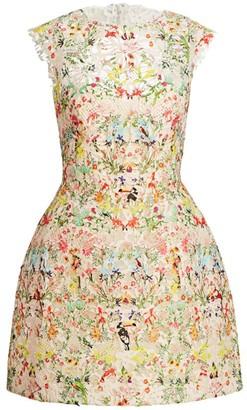 Monique Lhuillier Paradise-Print Lace Cap-Sleeve Mini Dress