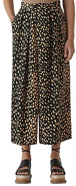 Whistles Animal Print Wide-Leg Pants