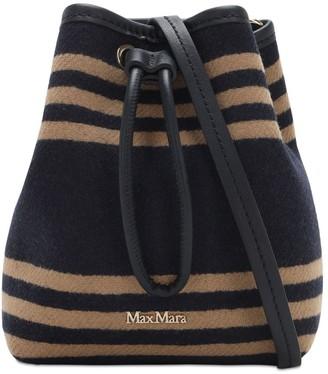 Max Mara Striped Fur Effect Wool Blend Bucket Bag