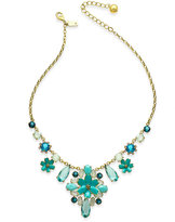 Kate Spade Gold-Tone Blue & White Stone Flower Statement Necklace
