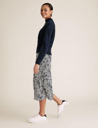 Marks and Spencer Printed Plisse Midi Straight Skirt