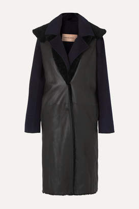 Yves Salomon Layered Cashmere And Wool-blend And Shearling Coat - Navy