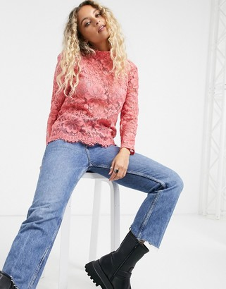 Vero Moda high-neck lace top in pink