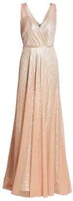 Rene Ruiz Collection Pleated Metallic Gown