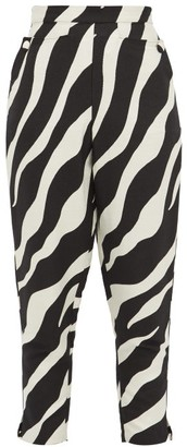 Elzinga - Zebra-jacquard Tapered-leg Trousers - Black White