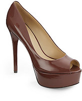 Brian Atwood Patent Leather Peep-Toe Pumps