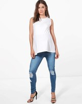 boohoo Maternity Under The Bump Distressed Knee Skinny Jeans