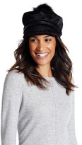 Natasha Accessories Faux Calf Hair Pompom Cap