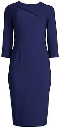 Roland Mouret Hisley Asymmetric Seam Tea-Length Sheath Dress