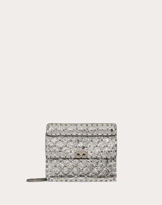 Valentino Medium Rockstud Spike Metallic Nappa Leather Bag Women Silver 100% Lambskin OneSize
