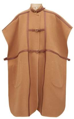 Burberry Leather Harness Wool-blend Cape - Womens - Camel