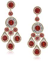 Miguel Ases Large Pyrite and Red Raised Multi-Swarovski Chandelier Drop Earrings