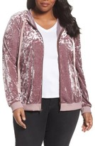Sejour Plus Size Women's Crushed Velvet Hoodie Jacket