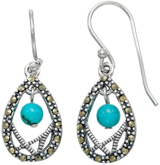 Tori HillSterling Silver Simulated Turquoise & Marcasite Teardrop Earrings