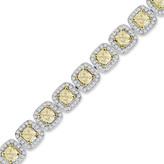 Zales 9-1/5 CT. T.W. Yellow and White Diamond Vintage-Style Bracelet in 18K White Gold (SI2)